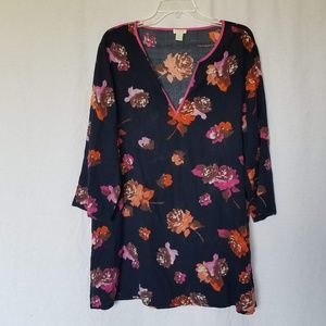 J. Crew navy floral tissue tunic top size XL